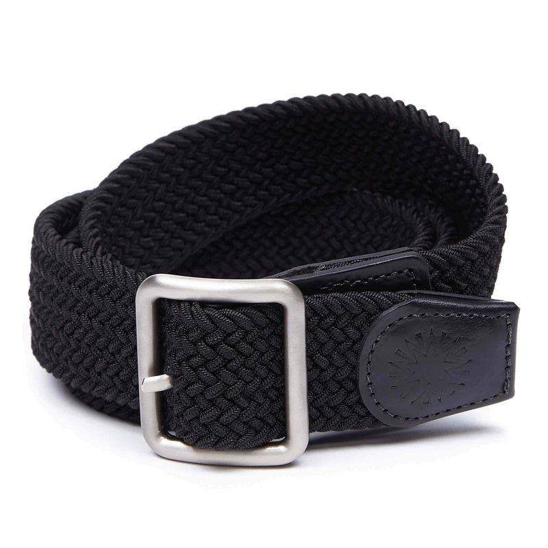 Woven black belt with leather tip