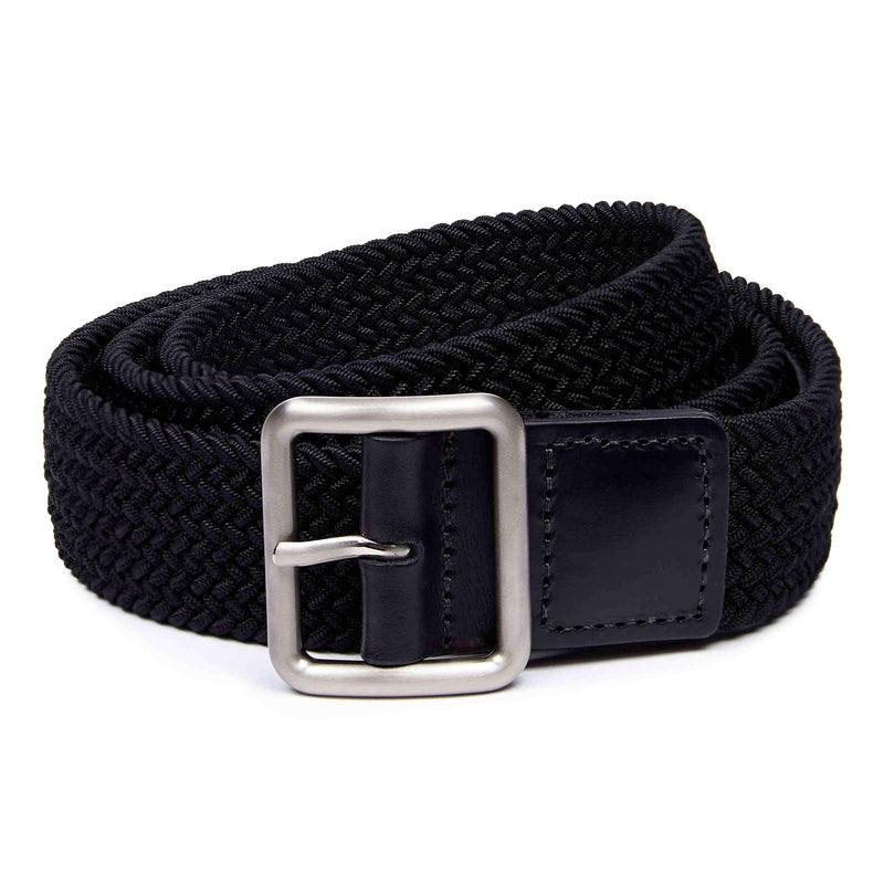 Woven belt from Shackleton in black with leather embossed tip