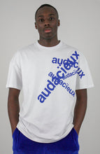 "Load image into Gallery viewer, tee TONY ""audacïeux"" bleu unisex"