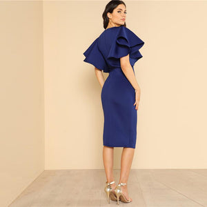 Butterfly Sleeve Ruffle Zipper Dress