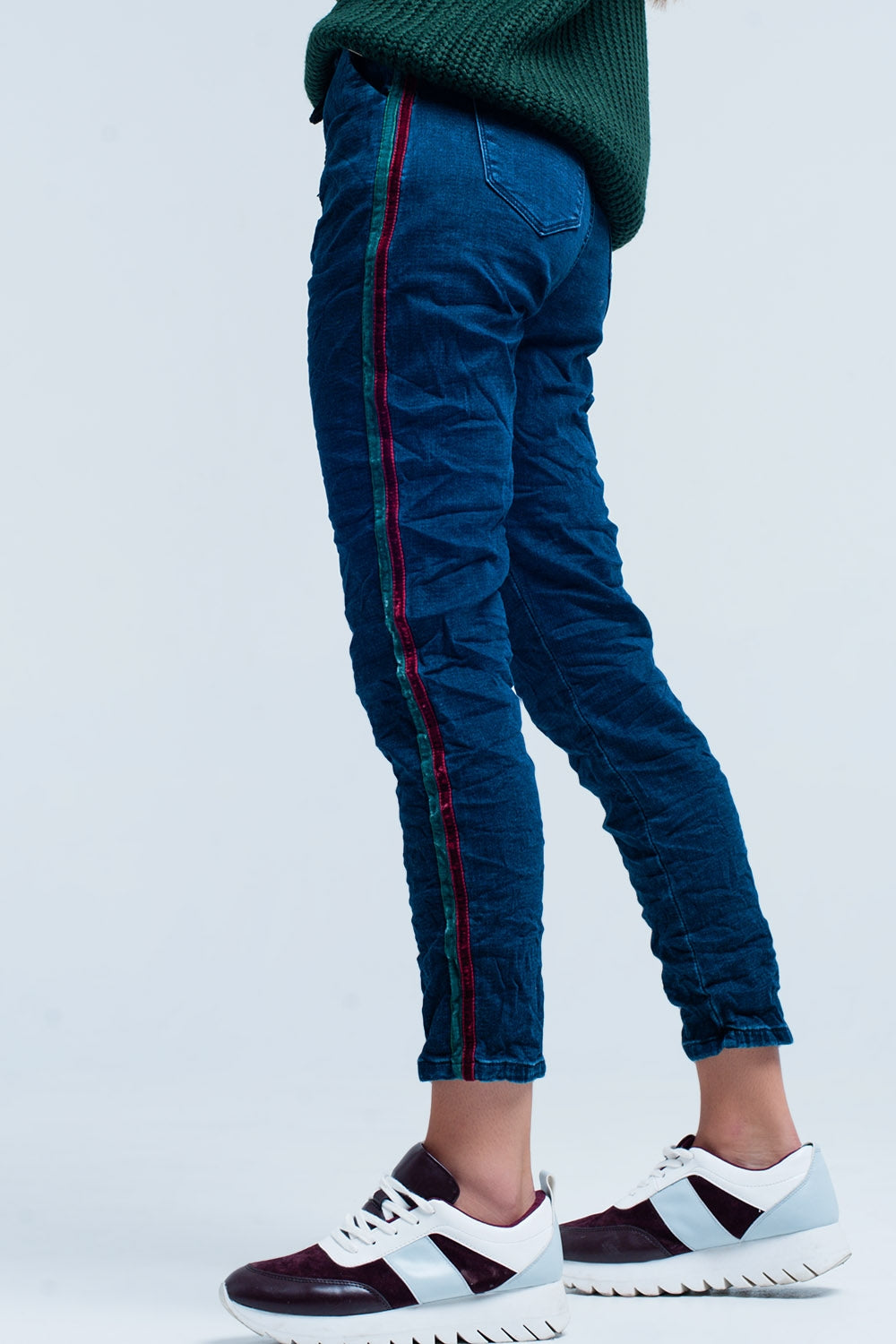 Blue Baggy Jeans multi-color side stripe