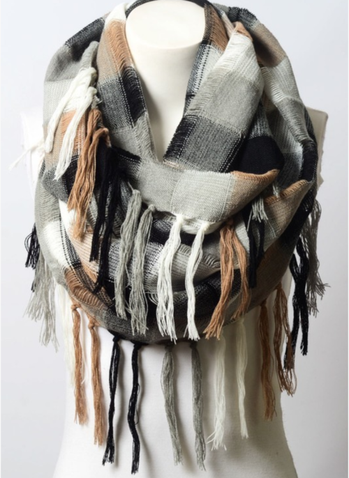 Black, Gray & Mocha Scarf.