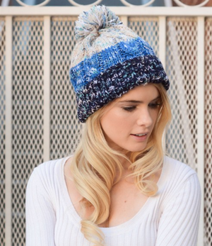 Blue Multi-Color Knit Beanie.