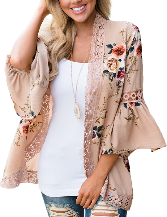 Casual Flare Sleeve Print Lace Hem Floral Cardigan Blouse