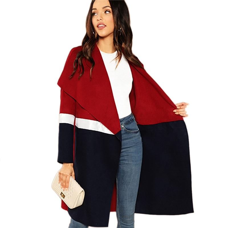 Colour Block Waterfall Collar Long Sleeve Coat