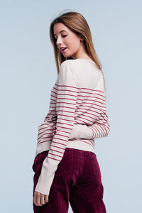 Beige striped round neck jumper