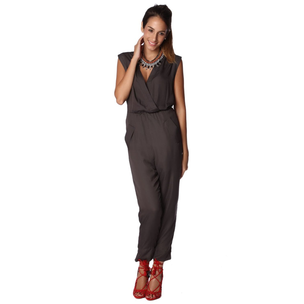 Gray Wrap Jumpsuit