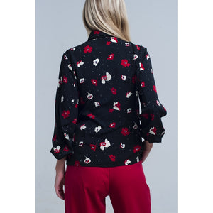 Black shirt with red and white flowers