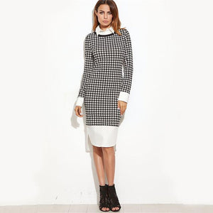 Houndstooth Contrast Curved Hem Combo Dress