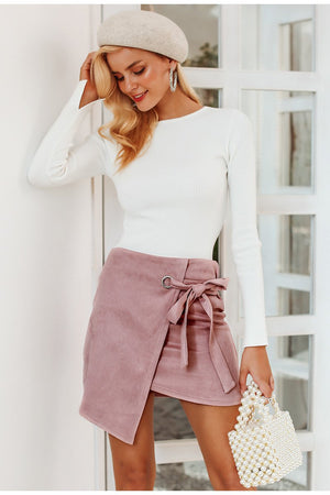 Asymmetrical split black sash skirt
