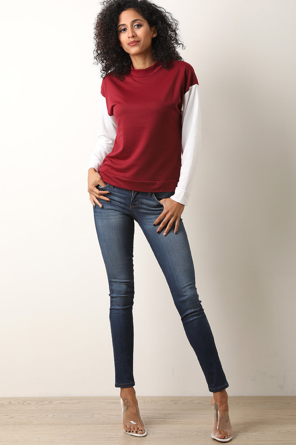 Contrast Sleeves Mock Neck Top