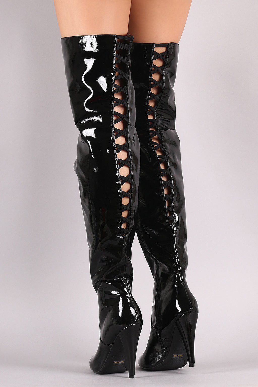 Back Lattice Heeled Over-The-Knee Boots