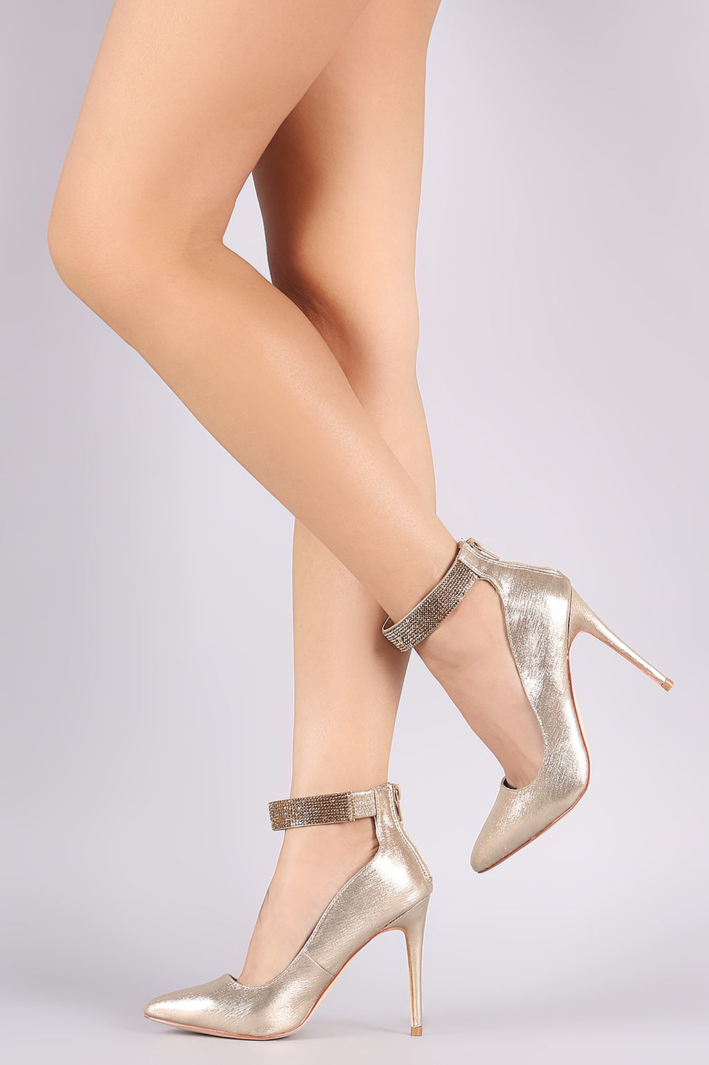 Rhinestone Ankle Strap Pointy Toe Pump
