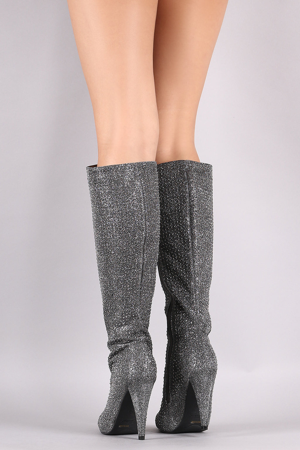 Rhinestone Accent Pointy Toe Knee High Boots