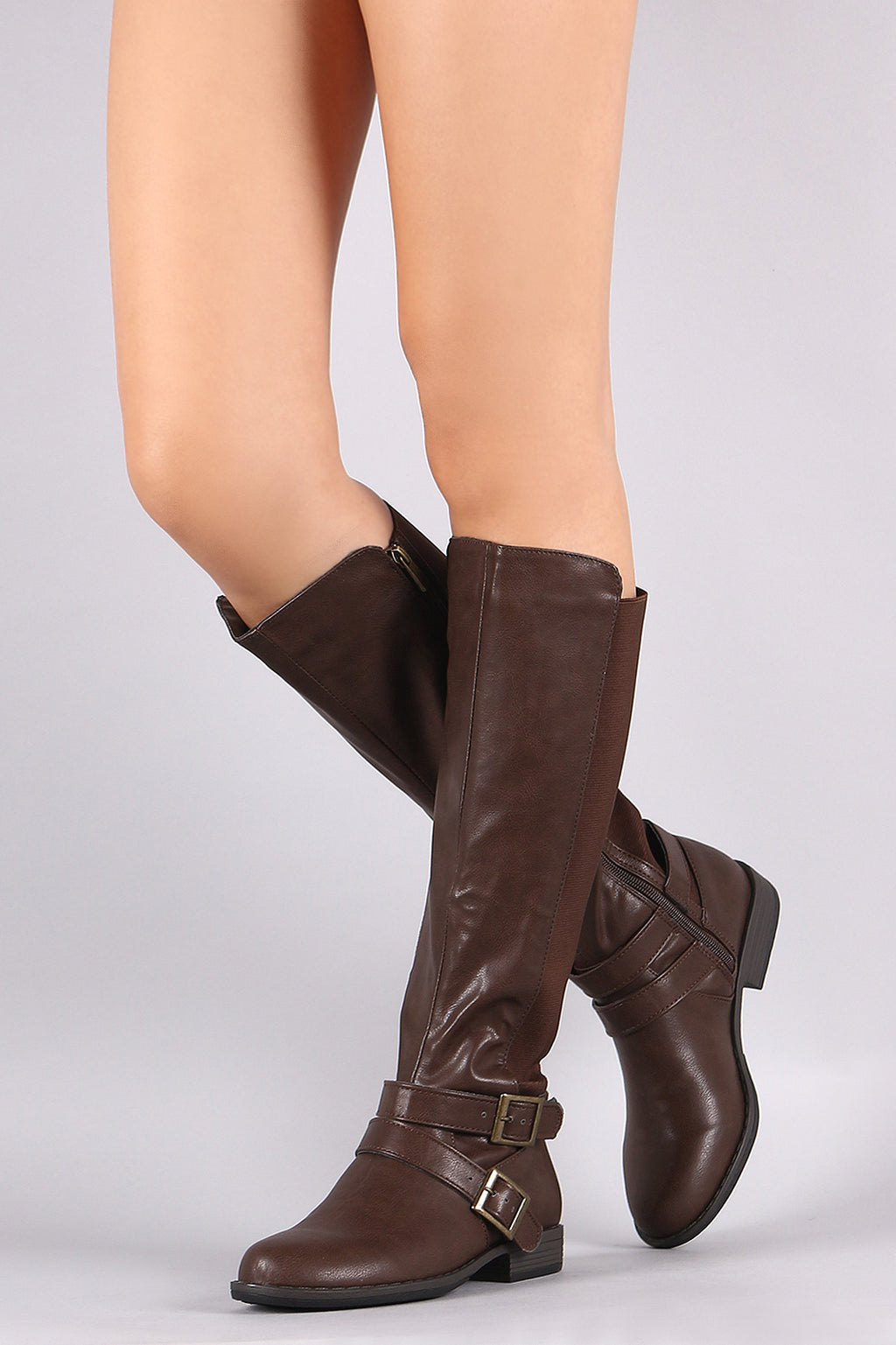 Elastic Back Panel Buckled Riding Knee High Boots
