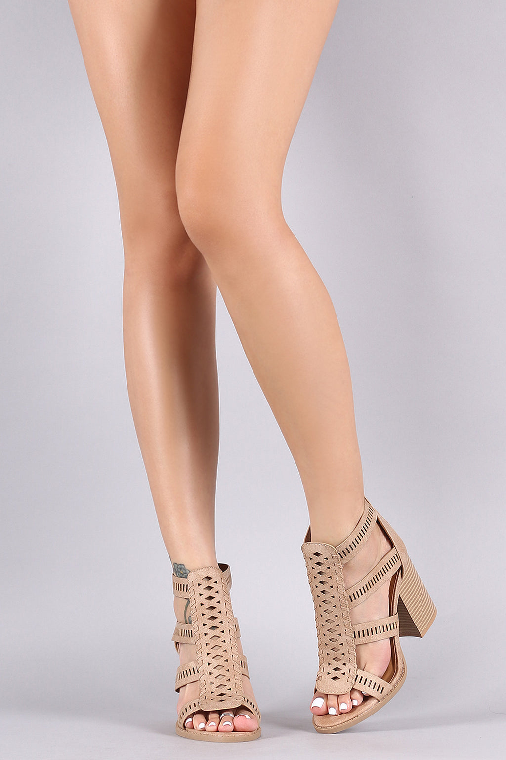 Strappy Perforated Whipstitch Chunky Heel
