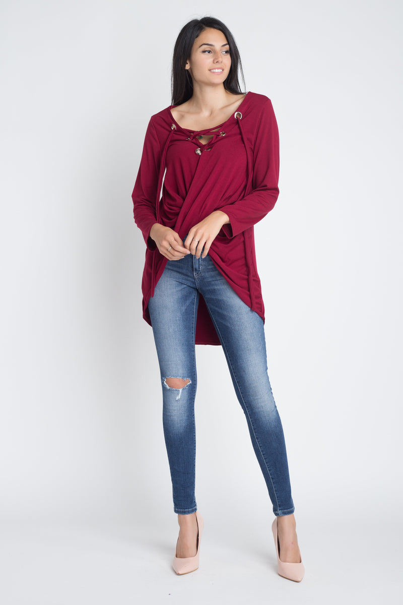Lace Up Wrap Long Sleeve Top
