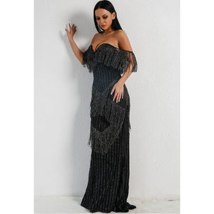 Black Fringe Evening Gown