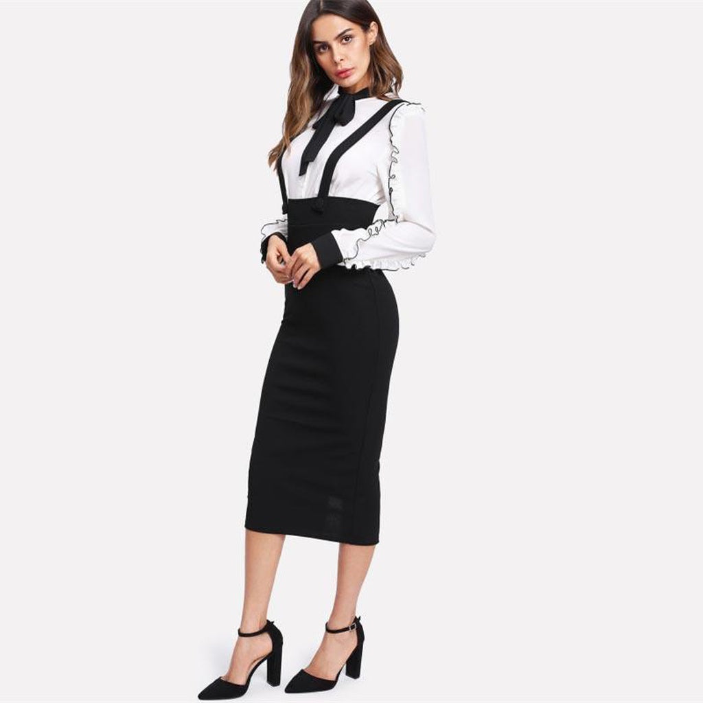 Strapped High Waist Slit Back Pecil skirt