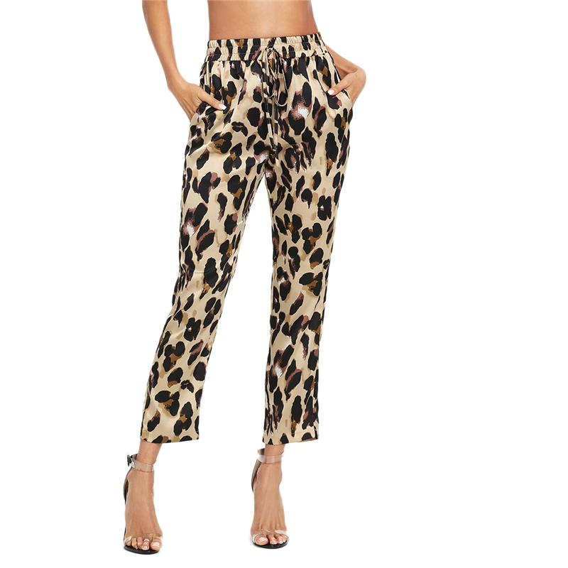 Patched Drawstring Leopard Print Trouser