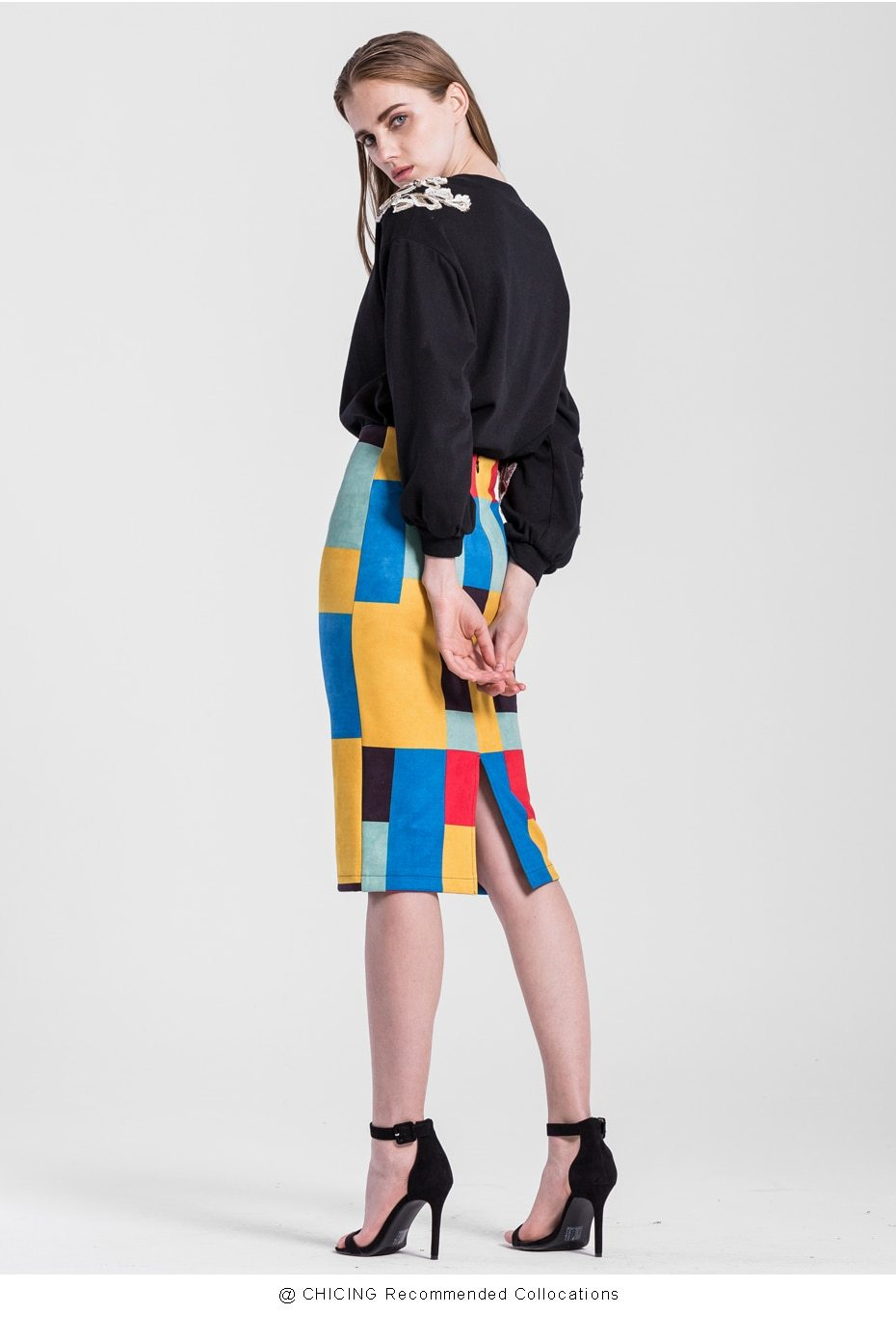 Plaid Geometric Printed Pencil Skirt