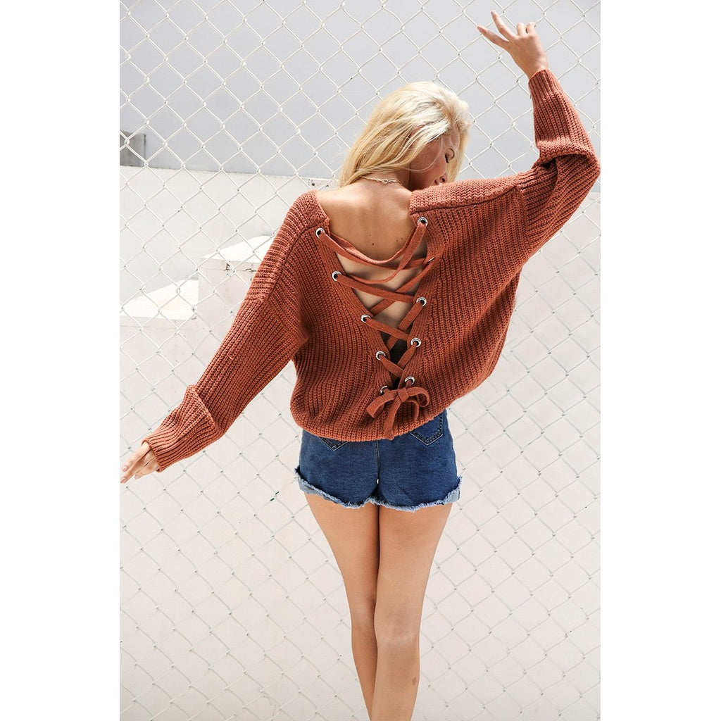 Sexy Backless Hollow Out Pullover