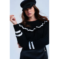Cable knit black sweater