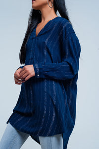 Blue longline shirt with sheer metallic stripes