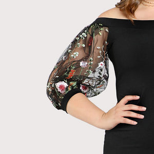 Black Embroidered Mesh Sleeve Large Dress