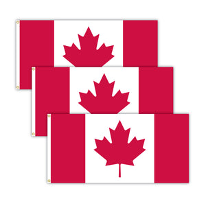 Bundle of three Canada flags.