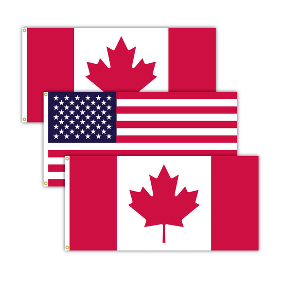 Canadian flag bundle featuring 2 Canada flags and 1 American flag.