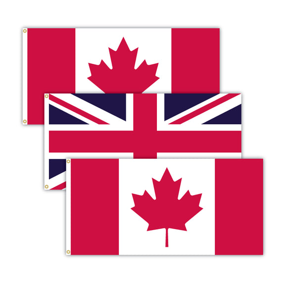 Bundle of 2 Canadian flags and 1 United Kindgom flag.