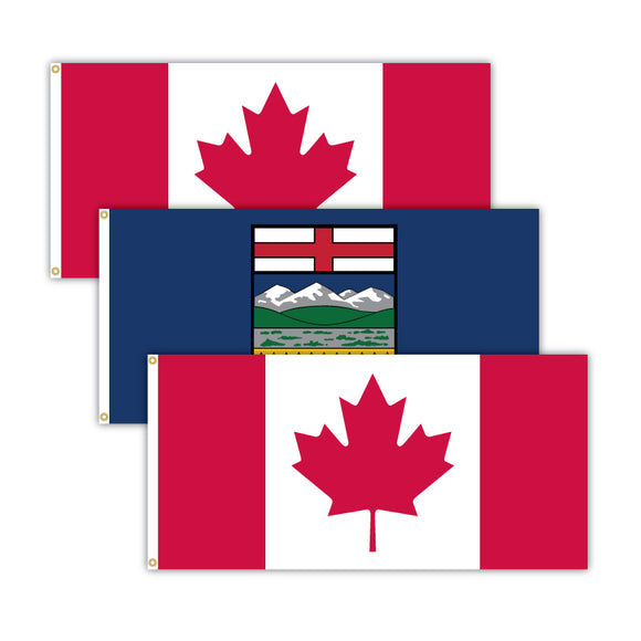 Bundle of two Canadian flags and one Alberta flag.