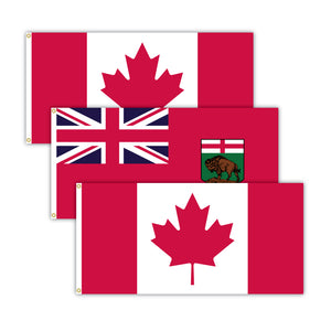 This bundle features 2x Canadian flags and 1x Manitoba flag.