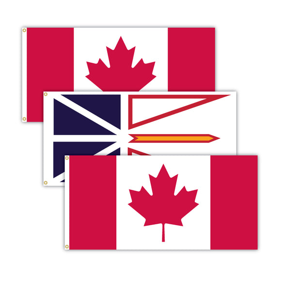 This bundle features 2x Canadian flags and 1x Newfoundland flag.