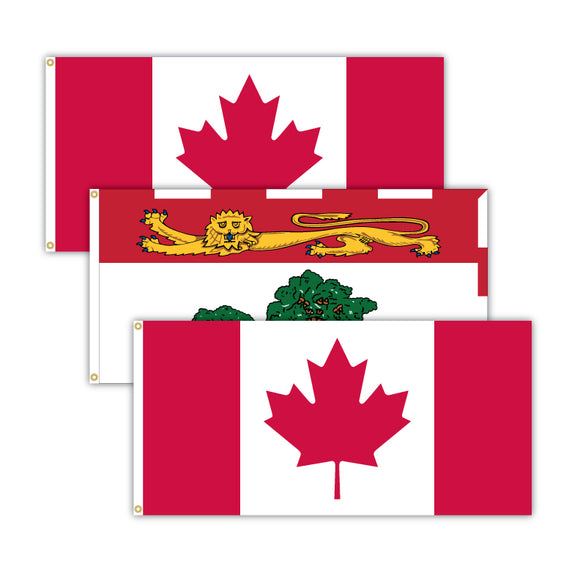 This bundle features 2x Canadian flags and 1x Prince Edward Island flag.
