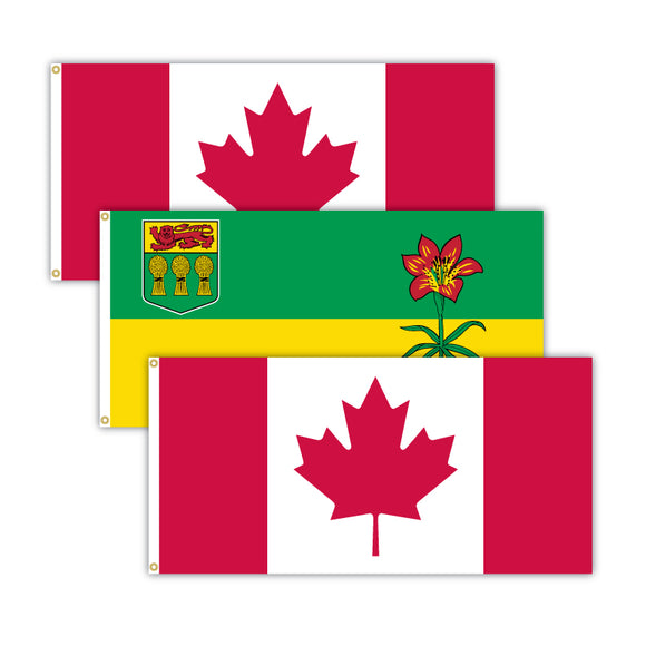 This bundle features 2x Canadian flags and 1x Saskatchewan flag.