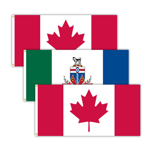 This bundle features 2x Canadian flags and 1x Yukon flag.