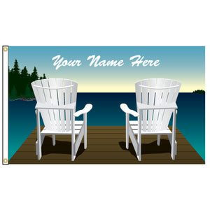 Double Muskoka Chair Flag - Personalized