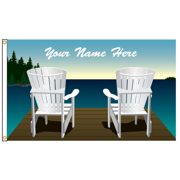 Personalized Flag of two Muskoka chairs on a dock.
