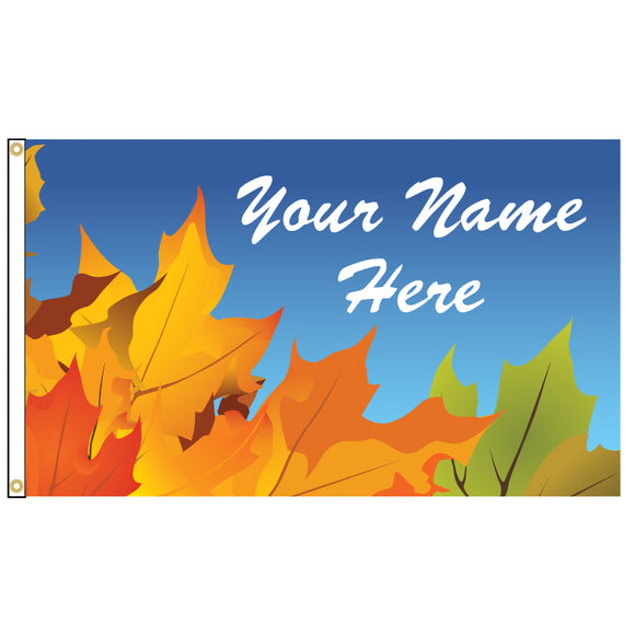 Flag with fall leaves on it as well as your name.