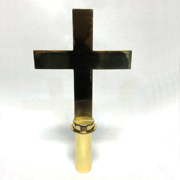 Brass cross shaped finial for flagpoles.