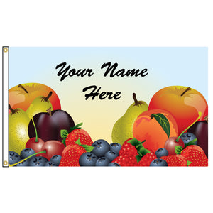 Fruit illustration on a flag that you can personalize with your name.