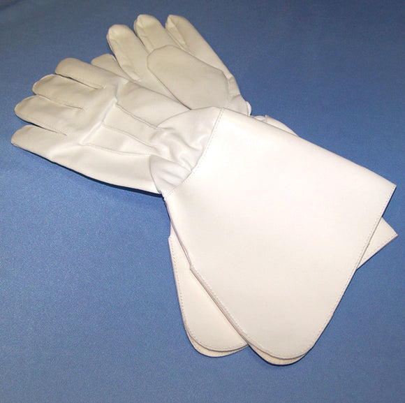 White faux leather parade gloves.