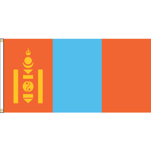 Mongolia flag with grommets.