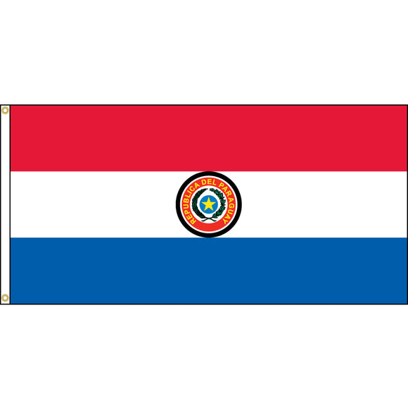 Paraguay Flag with header and grommets.