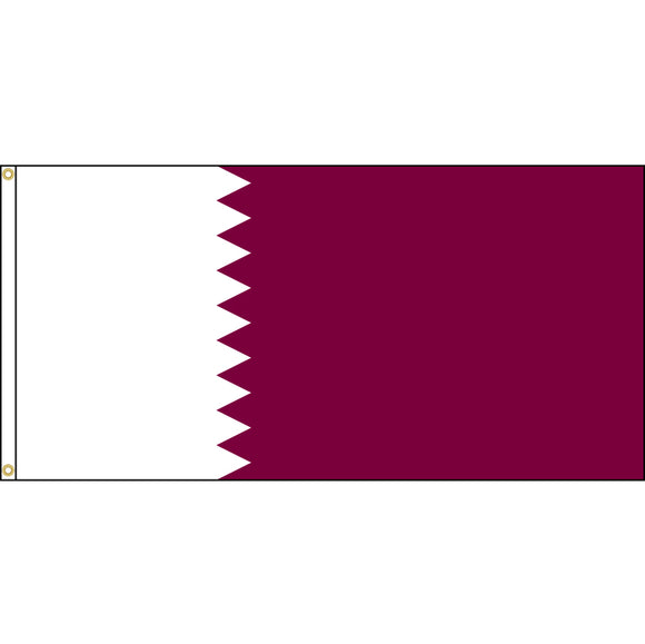 Qatar Flag with header and grommets.
