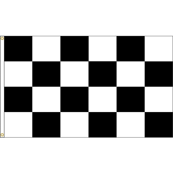 Checkered flag with grommets.