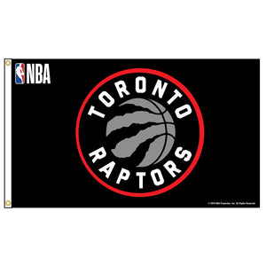 Toronto Raptors flag featuring Toronto Raptors logo and small NBA logo in upper left corner.