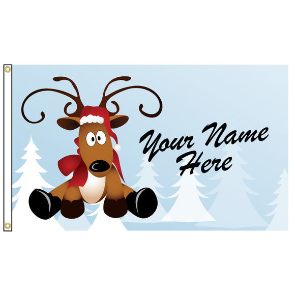 Reindeer cartoon on a flag that you can add your name too.
